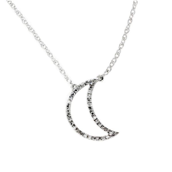 896f8121a014 Cadena con colgante media luna con diamantes en oro blanco